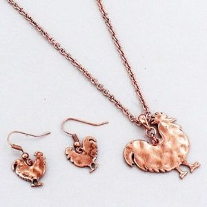 Coppertone Rooster Necklace & Earring Set